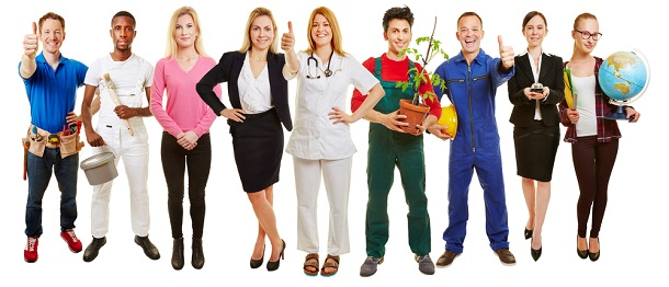 group of people representing different professions